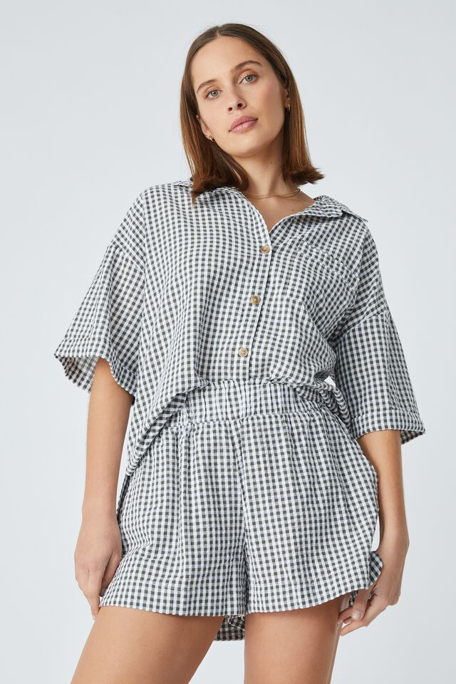 Relaxed Ruffle Short In Rescued Fabric, LEAD GINGHAM