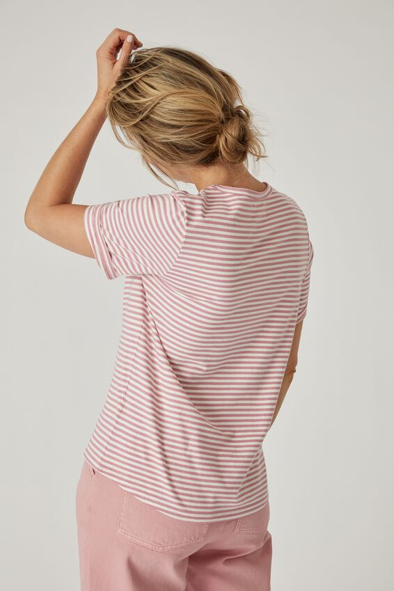 Organic Daily Tee, DESERT ROSE AND WARM WHITE MIDI STRIPE