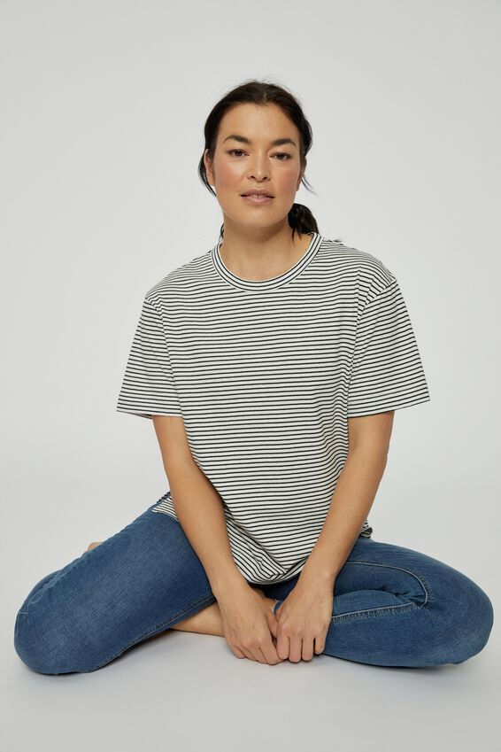 Organic Oversized Daily Step Hem Tee, MINI BLACK WHITE STRIPE