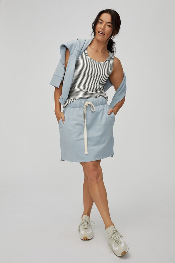 Organic Fleece Mini Tube Skirt, BLUE FOG