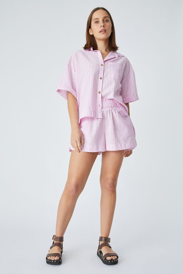 Relaxed Ruffle Short In Rescued Fabric, SUMMER CHECK