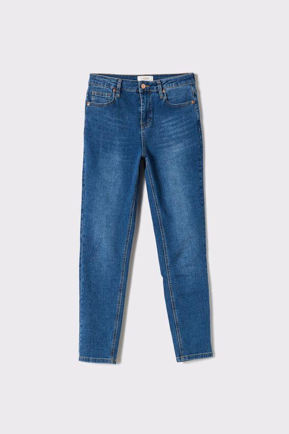 Mid Rise Skinny Jeans, INDIGO BLUE
