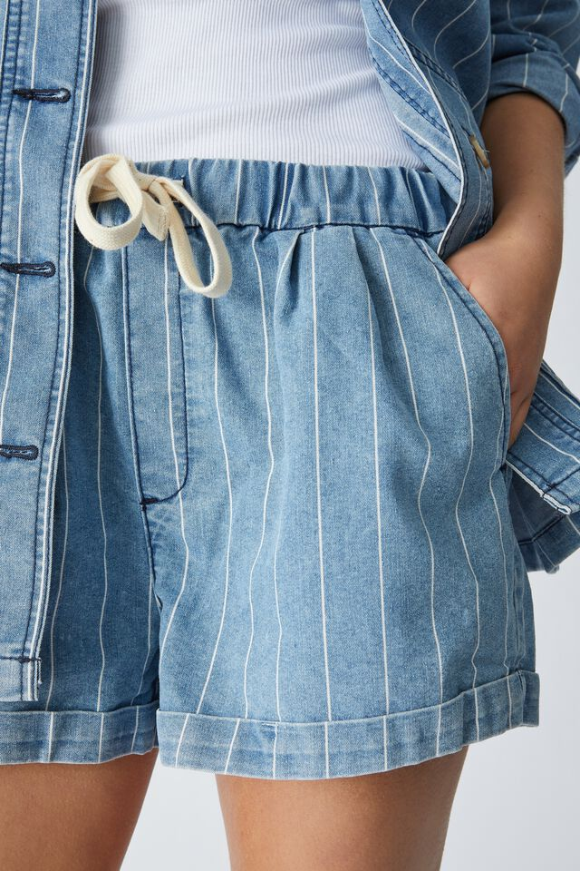 Baggy Everyday Short In Rescued Fabric, VINTAGE BLUE WASH STRIPE