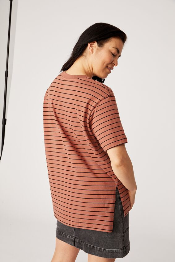 Organic Oversized Daily Step Hem Tee, RUST/BLACK STRIPE