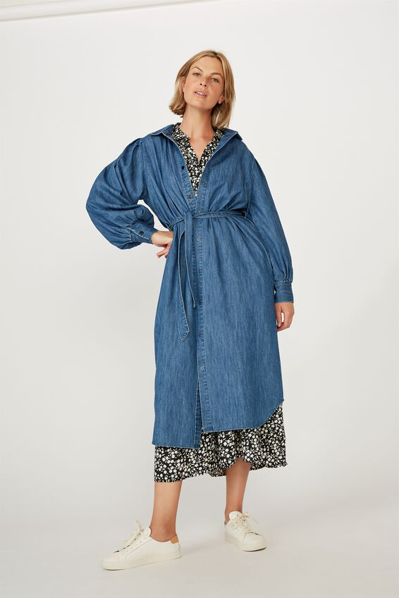 Talisman Shirt Dress, CHAMBRAY