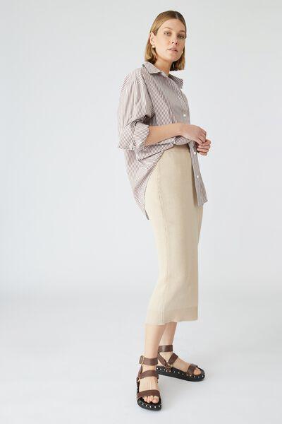 Organic Cotton Knit Midi Skirt, LINEN TAUPE