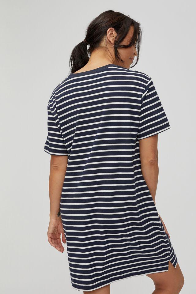 Organic Short Daily Tee Dress, NAVY/WHITE STRIPE