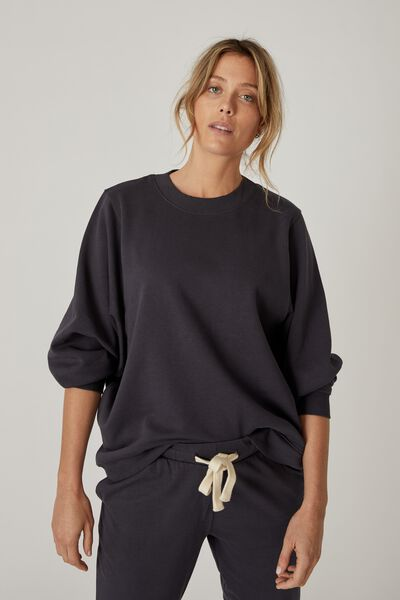 Organic Oversized Mock Neck Sweat, LEAD GREY