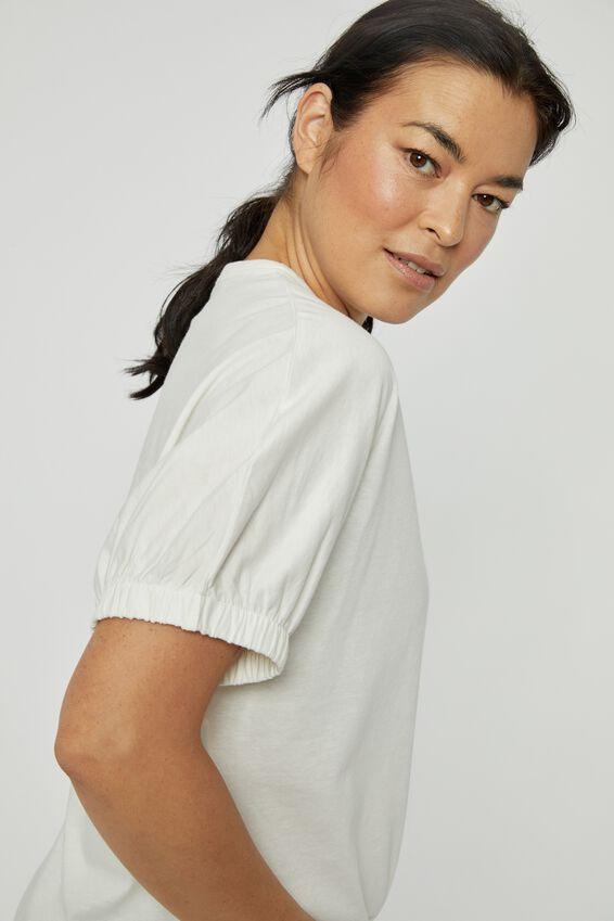 Organic Elastic Sleeve Split Hem Tee, WHITE