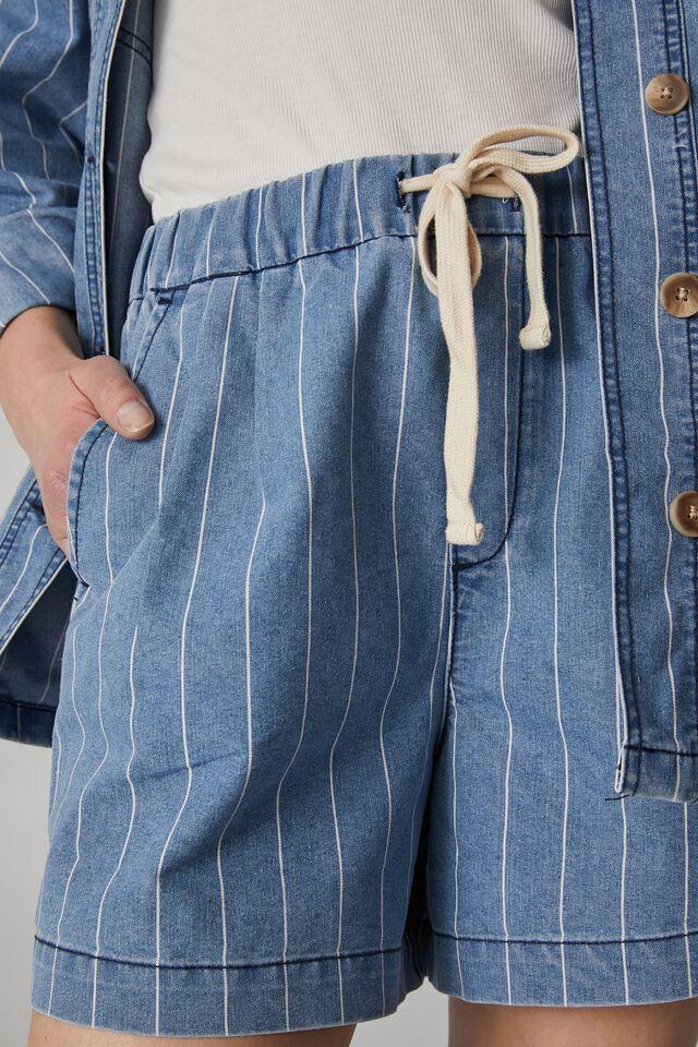 Oversized Pocket Tote In Rescued Fabric, VINTAGE BLUE WASH STRIPE