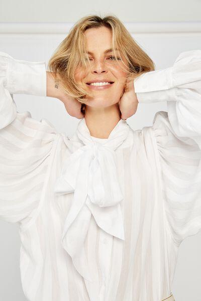 Celestial Shirt, WHITE SELF STRIPE