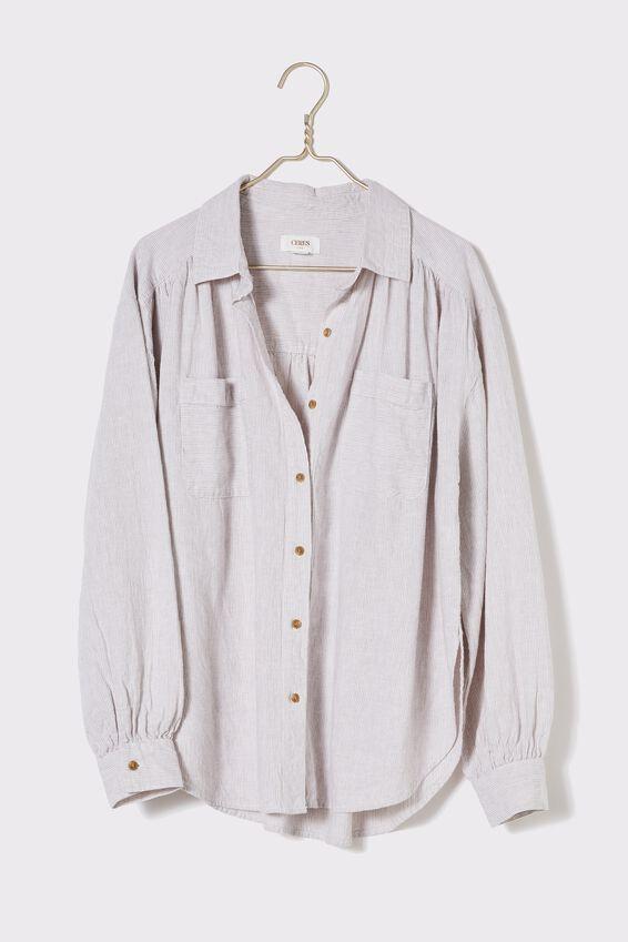The Oversized Stripe Shirt, SAND STRIPE