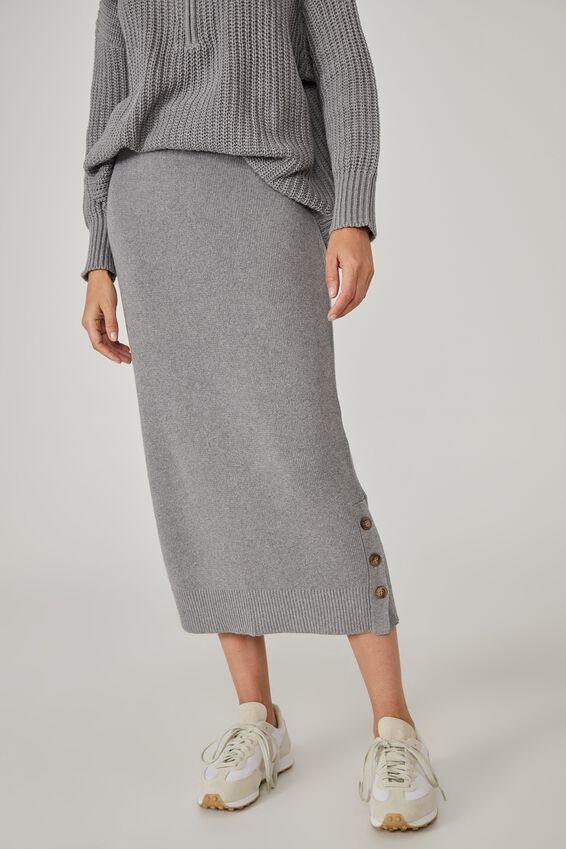 Australian Cotton Knit Midi Skirt, CHARCOAL MARLE
