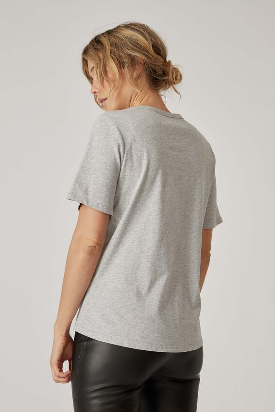 Organic Daily Print Tee, GREY MARLE BETTER TOGETHER
