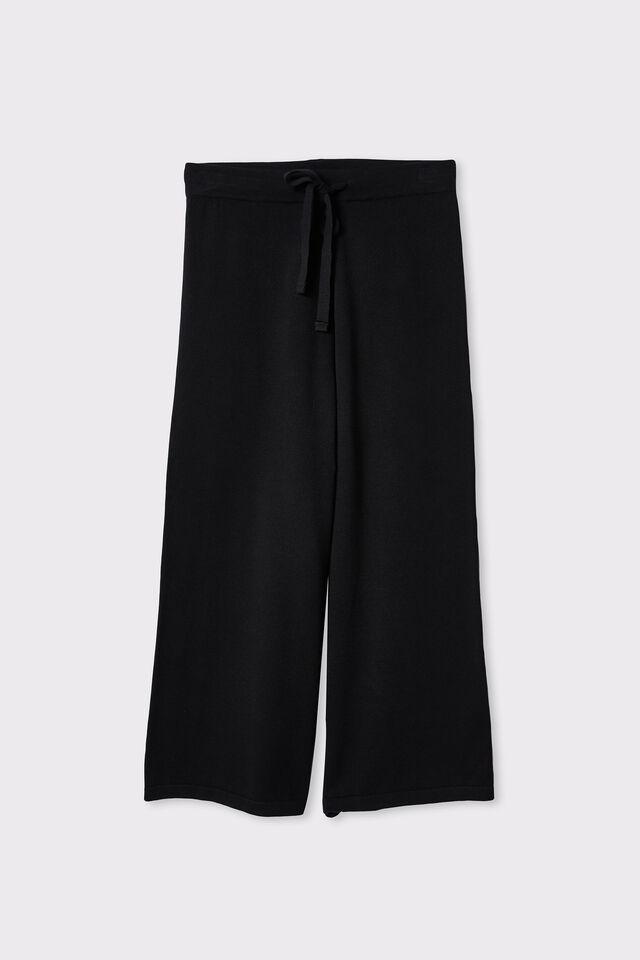 Organic Cotton Crop Knit Pant, BLACK