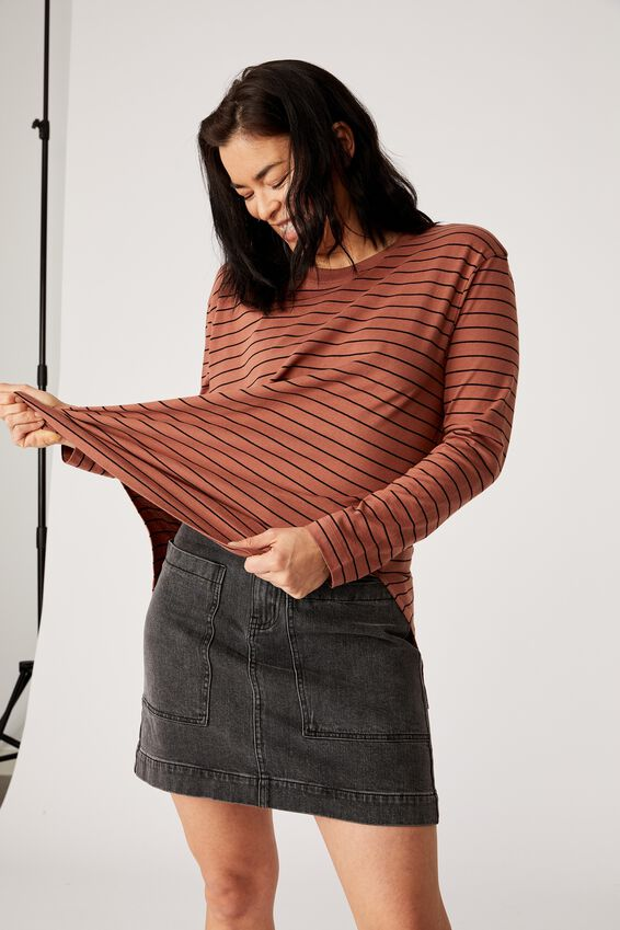 Organic Oversized Daily Ls Step Hem Tee, rust/black stripe
