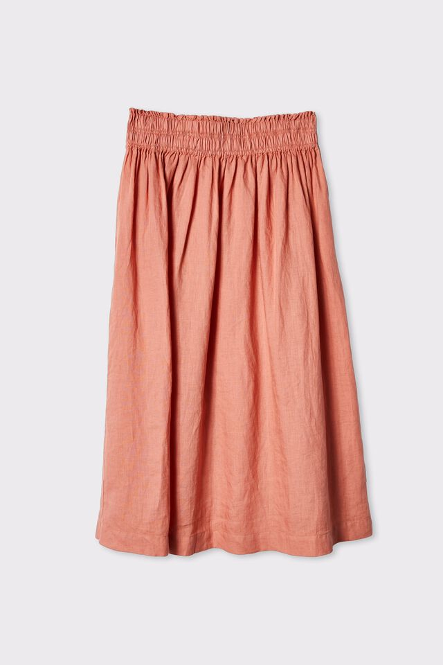Linen Midi Skirt, SPICED PINK