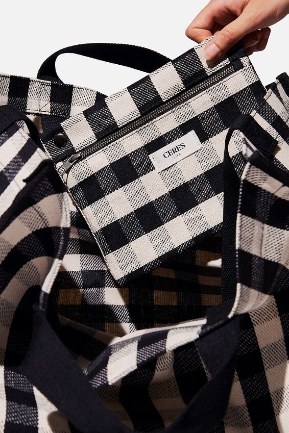 Oversized Gingham Tote Bag, BLACK WHITE GINGHAM
