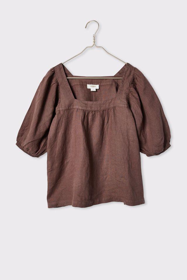 Linen Square Neck Puff Sleeve Tunic, BITTER CHOC