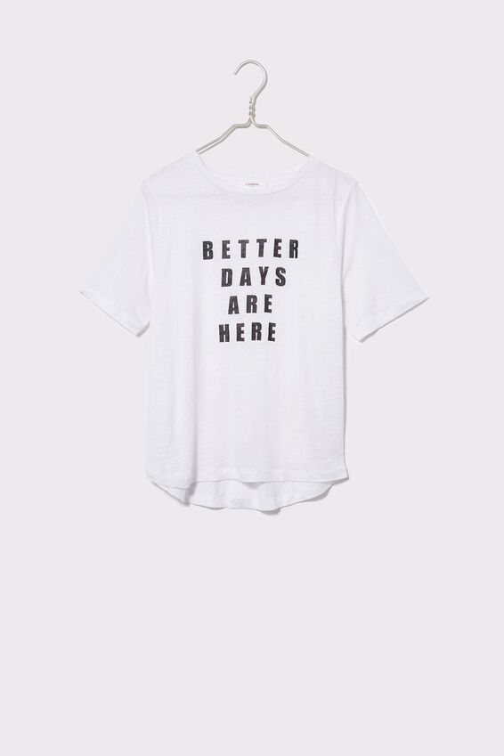 Linen Graphic Weekend Tee, WHITE/ BETTER DAYS