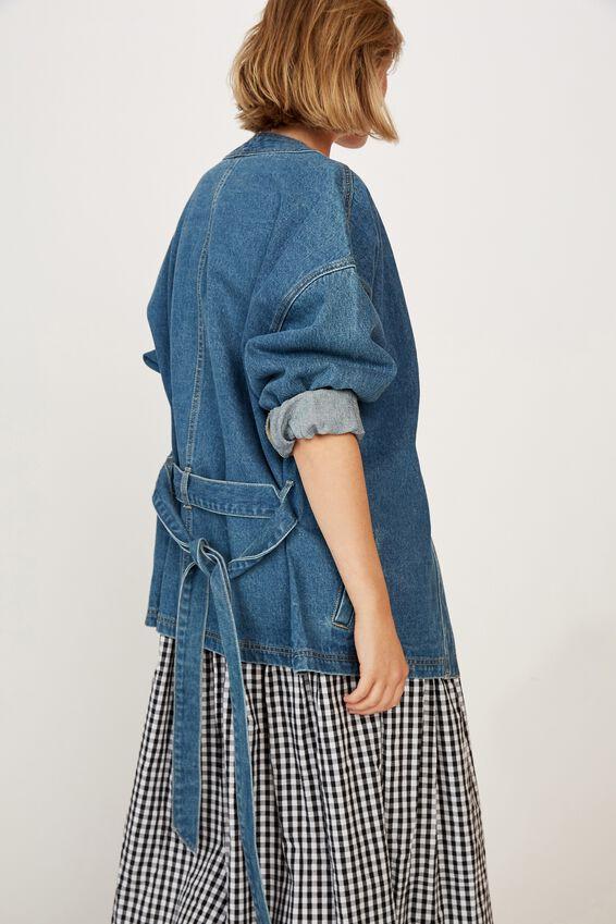 Denim Kimono Jacket, MID INDIGO