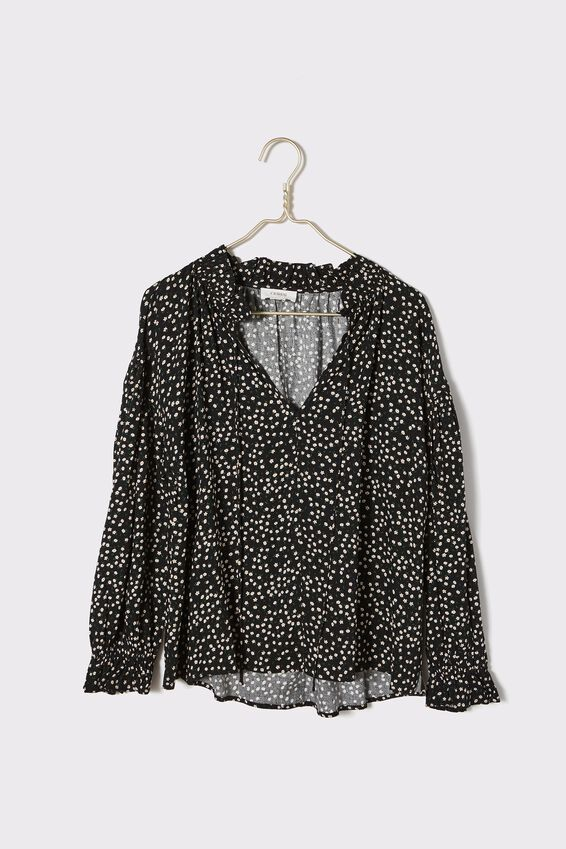 Long Sleeve Ruffle Neck Tunic, BLACK DITSY FLORAL