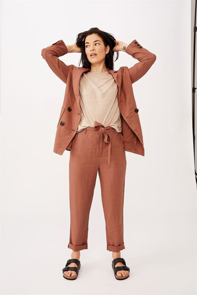 Relaxed Linen Pant, RUST