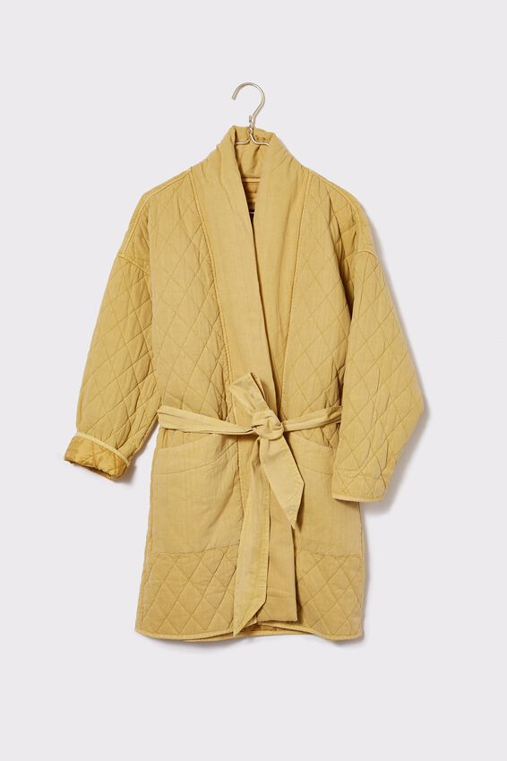 Longline Quilted Jacket, MELLOW YELLOW