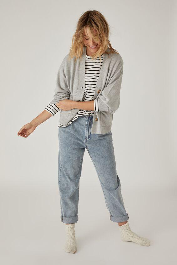 Soft Boxy Knit Cardigan, GREY MARLE