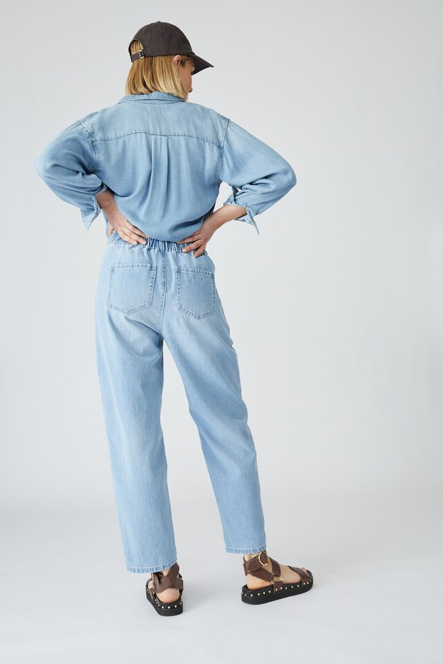 Denim Jogger With Recycled Cotton, SUMMER WASH