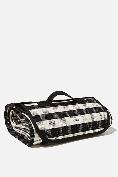 Picnic Rug, BLACK WHITE GINGHAM