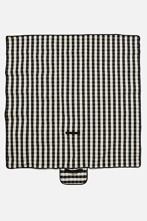 Picnic Rug, BLACK WHITE GINGHAM