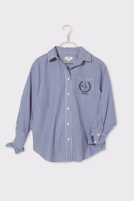 Preppy Shirt, NAVY STRIPE