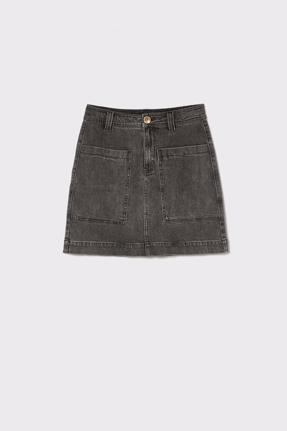 Square Pocket Denim Mini Skirt, SHADDOW