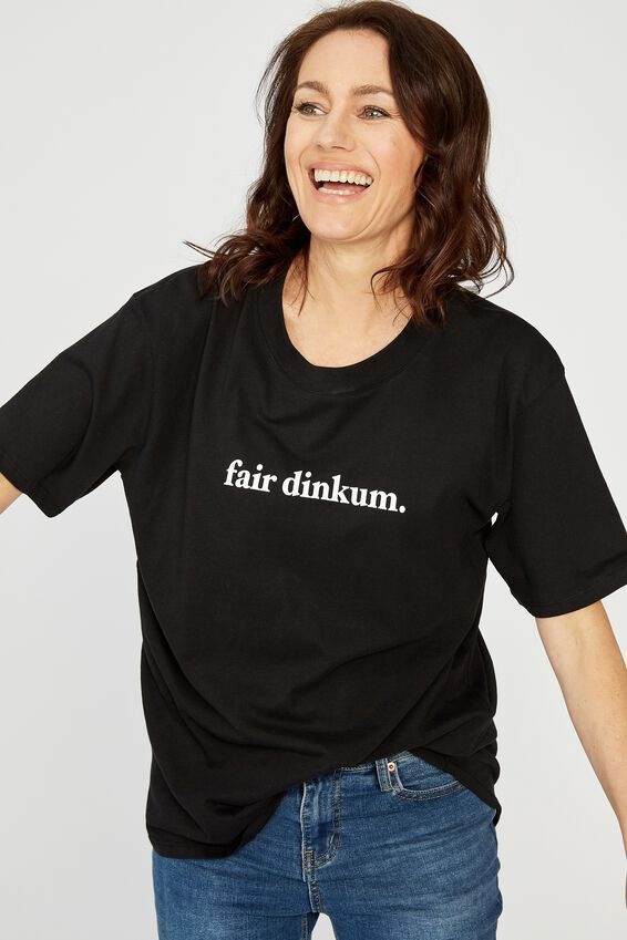 The Organic Daily Print Tee, BLACK/FAIR DINKUM