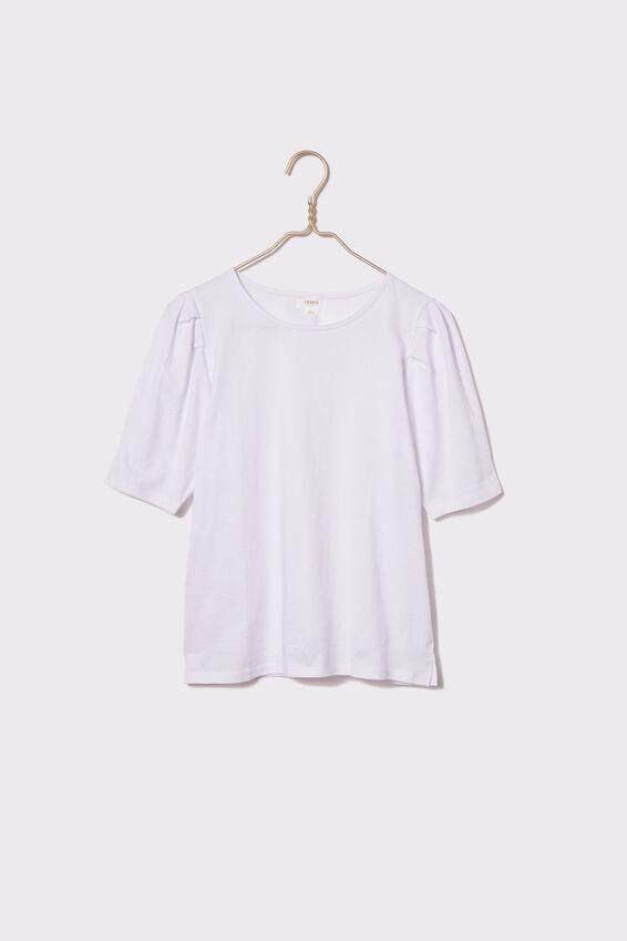 Organic Cotton Puff Sleeve Tee, WHITE