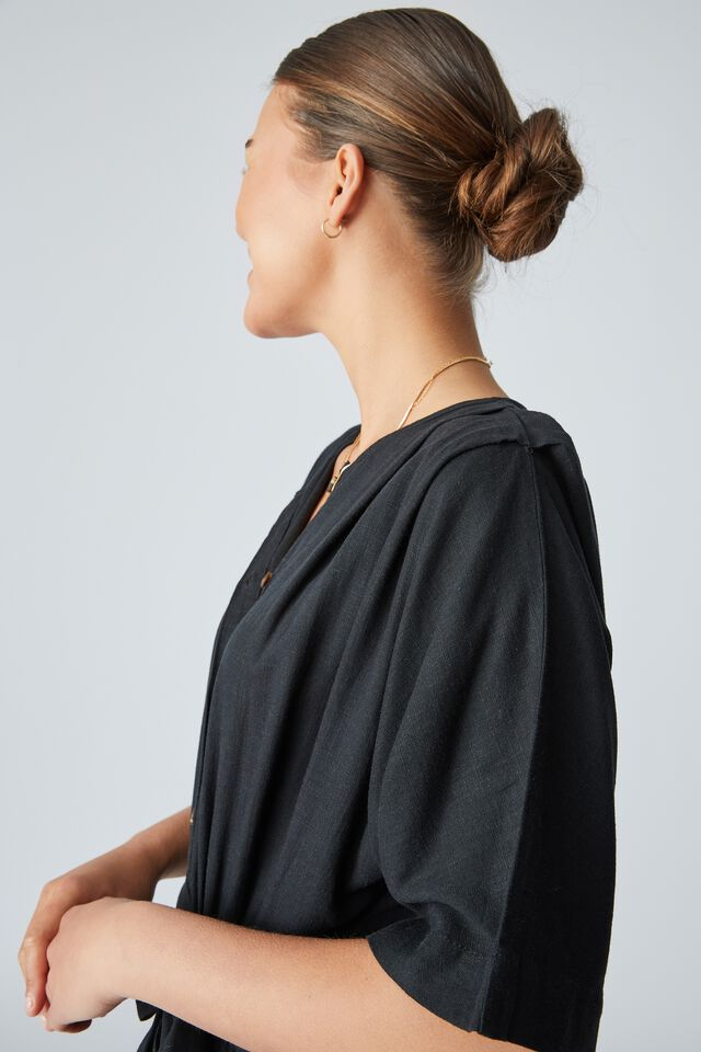 Linen Blend Jumpsuit, BLACK