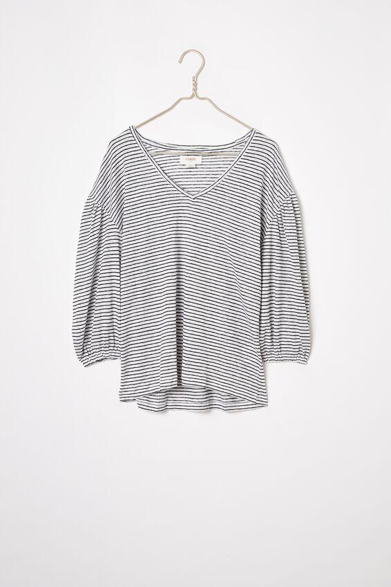 Linen Balloon Sleeve Tee, WHITE/BLACK STRIPE