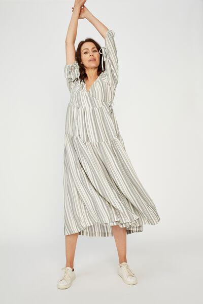 Picnic Wrap Dress, GREY/WHITE STRIPE