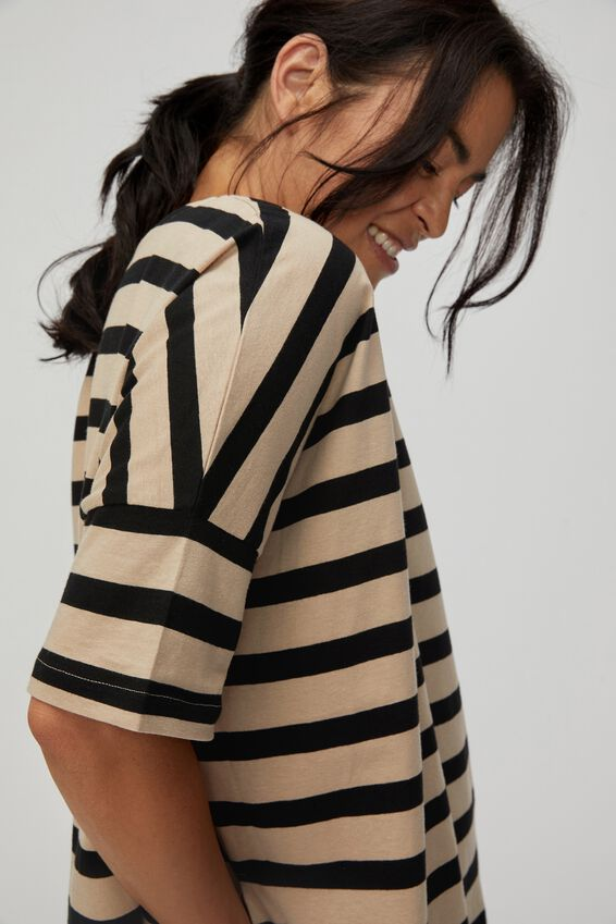 Organic Boxy Tee, BOLD PEBBLE BLACK STRIPE