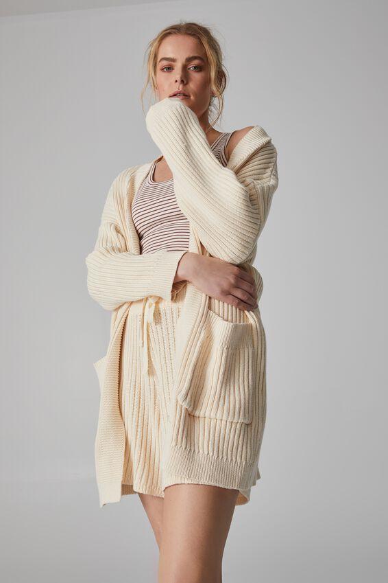 Belted Wrap Cardigan, ECRU