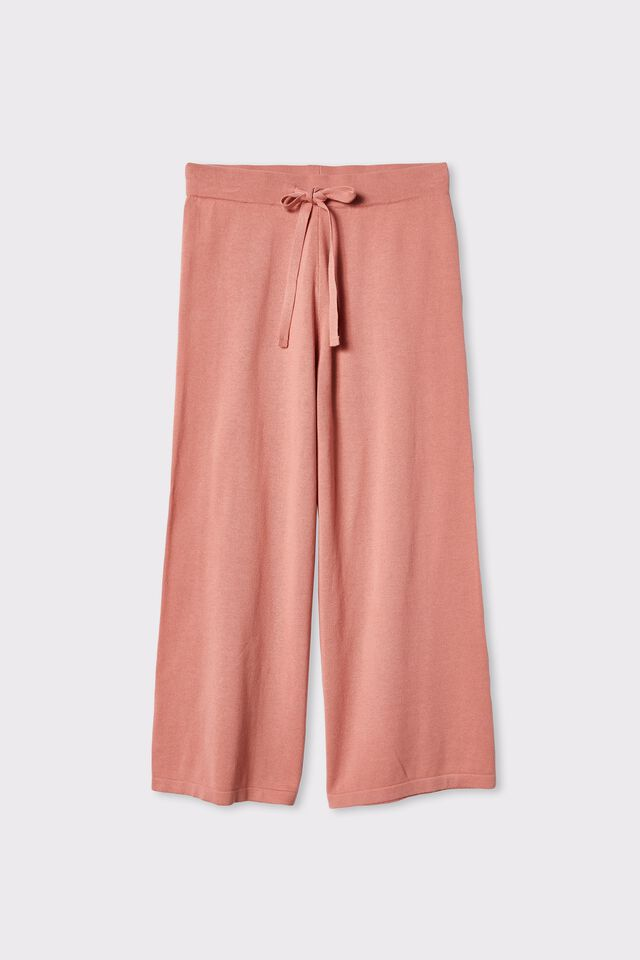 Organic Cotton Crop Knit Pant, SPICED PINK