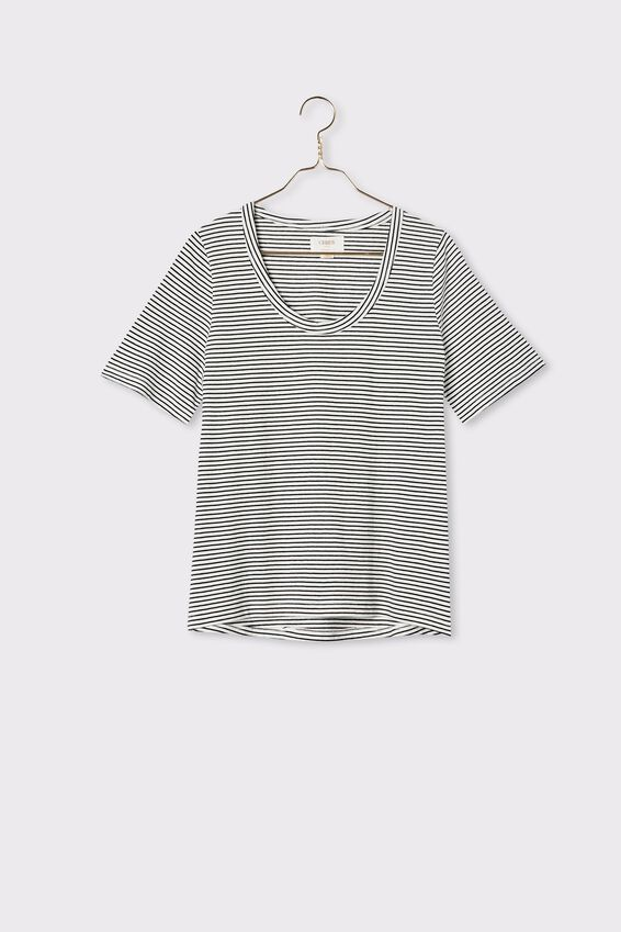 Organic U Neck Daily Tee, MINI BLACK WHITE STRIPE