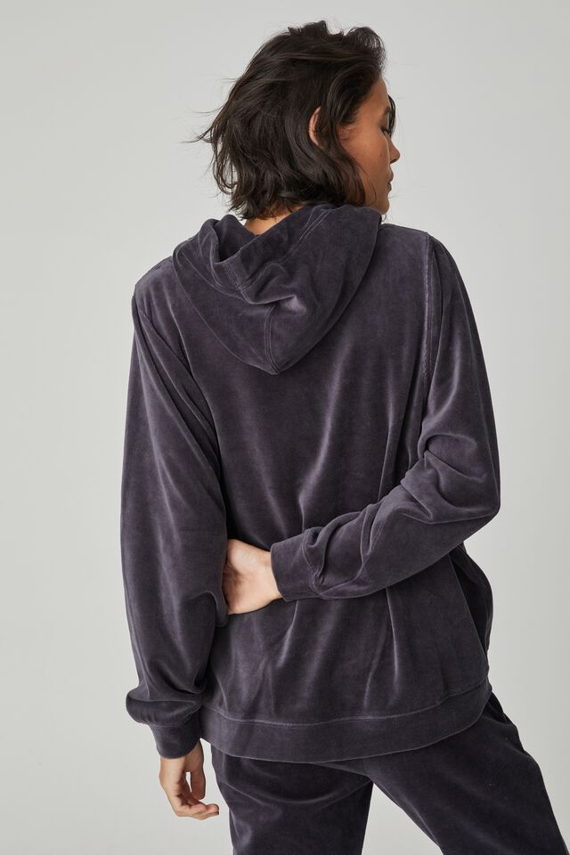 Velour Hooded Sweater, LEAD