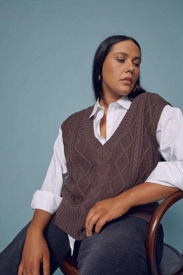 Organic Cotton Knit Vest, BITTER CHOCOLATE