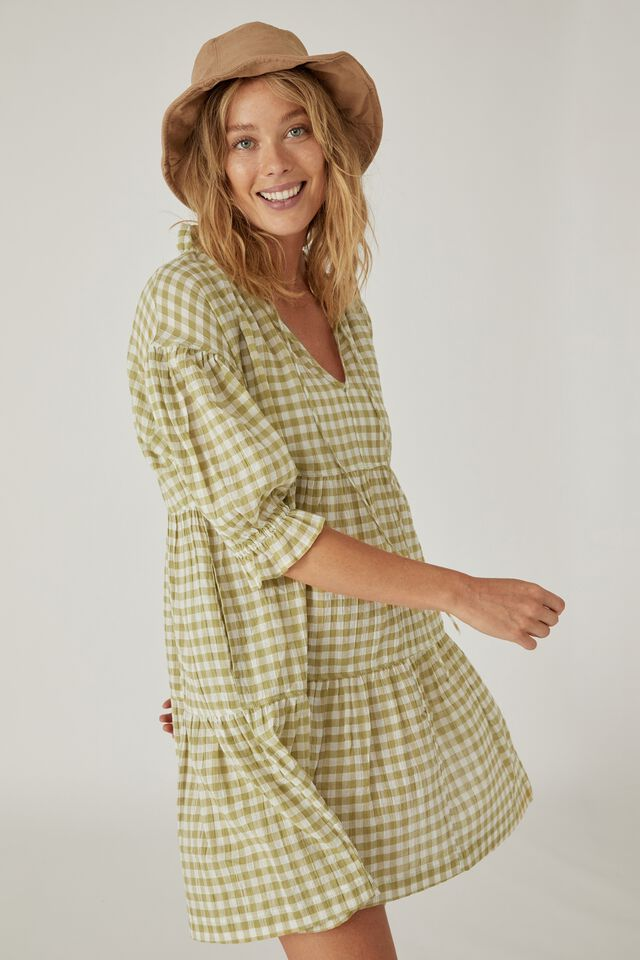Short Ruffle Tiered Dress, HERB GREEN