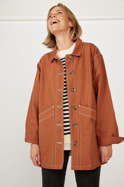 Worker Jacket, AMBER BROWN