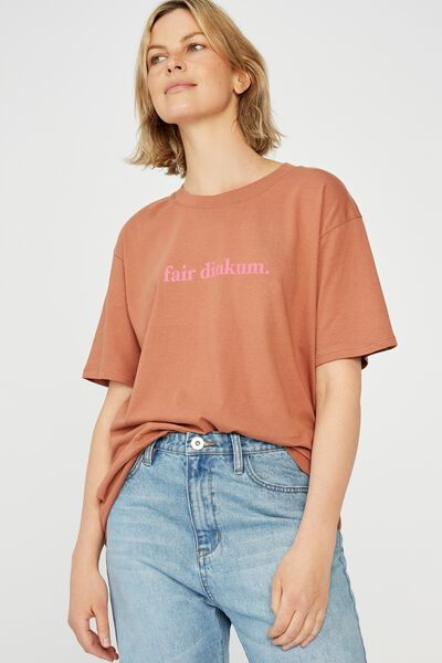 The Organic Daily Print Tee, RUST/FAIR DINKUM