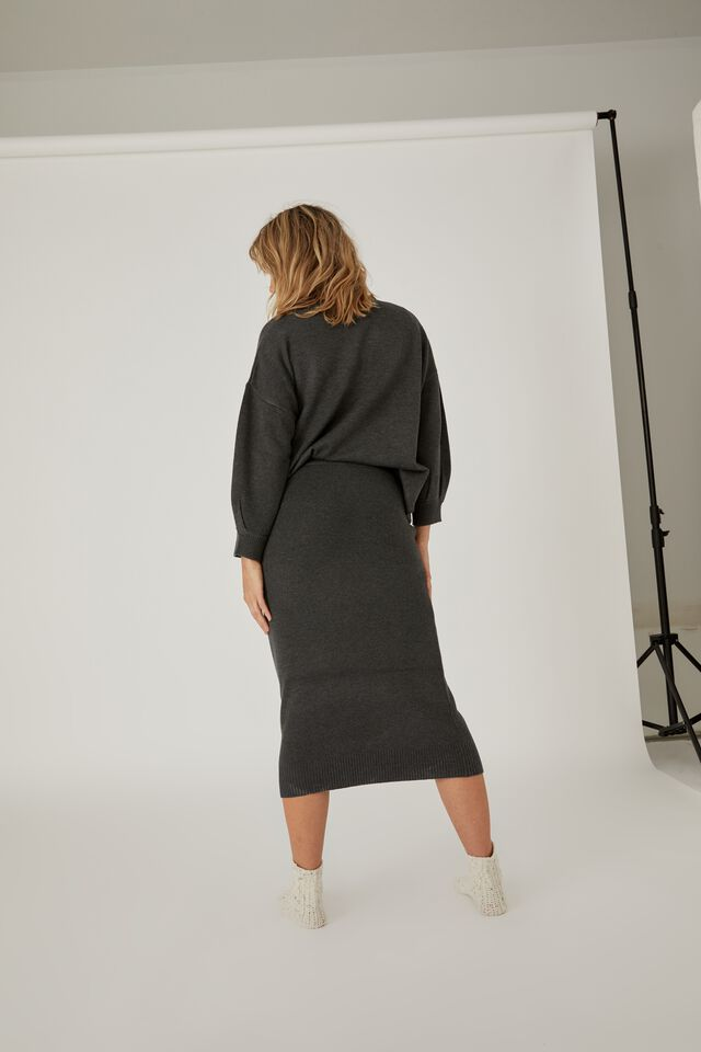 Soft Knit Skirt, CHARCOAL MARLE