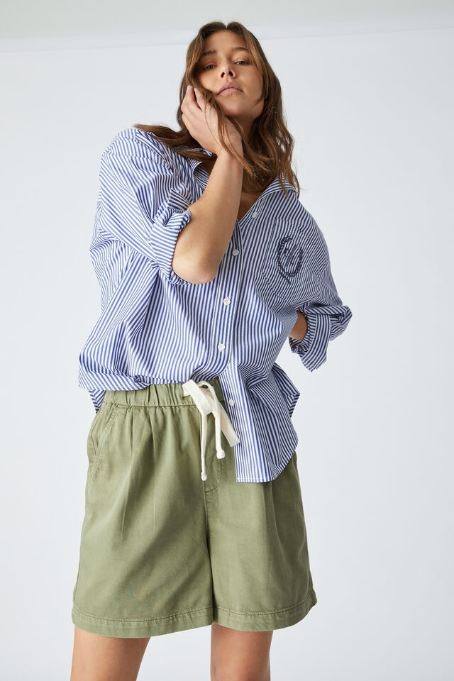 Baggy Everyday Short With Recycled Cotton, SOFT OLIVE